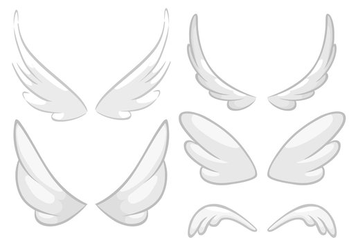Hand drawn angel, fairy or bird wings set. Outlined drawing elements isolated on white background. Vector illustration.