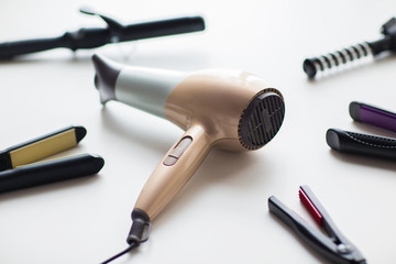 hairdryer, hot styling and curling irons