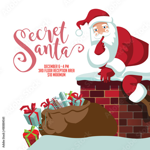 secret santa party invitation template cartoon santa claus climbing
