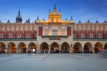 The Krakow Cloth Hall on the Main Square at dusk, Poland