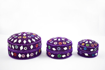 Oriental decorative box stock images. Set of purple boxes on a white background. Decorated gift box