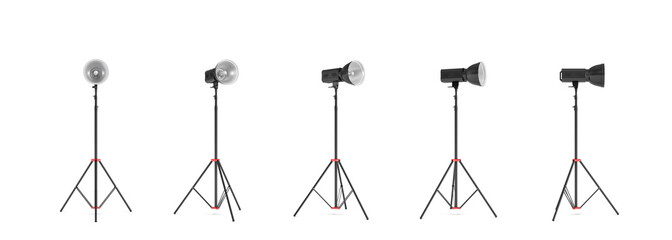 3d rendering of three lights with reflectors with the head turned down and up.