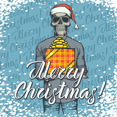 Vector illustration of skull on Christmas with gift