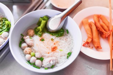 Thai-Style Kuay Tiew or White Vermicelli in Clear Soup