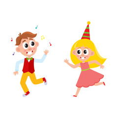 vector flat cartoon boy and girl kid dancing in party hat, running and throwing musik confetti smiling . isolated illustration on a white background. Kids patty concept