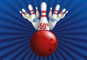 soldes - promos - bowling - prix - concept - quille - promotion - promotions - promo - rabais - 50%