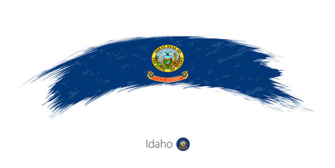 Flag of Idaho in rounded grunge brush stroke.