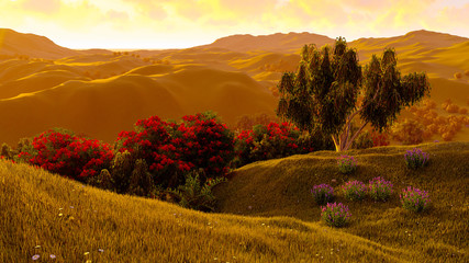 Green fields landscape 3d rendering