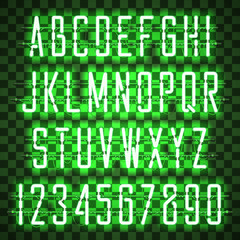 Glowing Green Neon Casual Script Font with uppercase letters from A to Z and digits from 0 to 9 with wires, tubes, brackets and holders. Shining and glowing neon effect. Vector illustration.