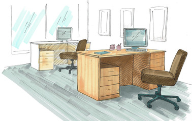 Open Space office. Workplaces outdoors. Tables, chairs and windows. A bright sketch drawn by markers.