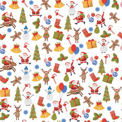 seamless background with Christmas and New Year symbols