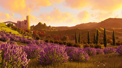 Lavender fields landscape 3d rendering