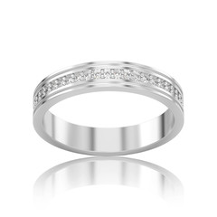 3D illustration isolated white gold or silver engagement wedding band diamond ring with reflection