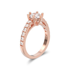 3D illustration isolated rose gold solitaire engagement diamond ring with shadow