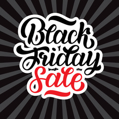 Vector illustration of black friday sale hand-made lettering on black rays background for logo, banners, labels, badges, prints, posters, web