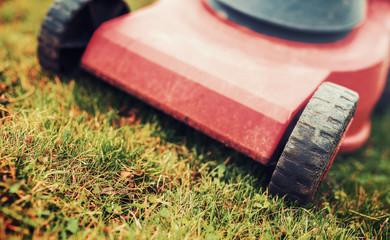 Lawn mower. Closeup photo of grass cutter. Gardening concept