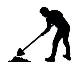 silhouette man digging