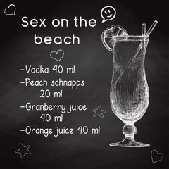 Simple recipe for an alcoholic cocktail Sex On The Beach. Drawing chalk on a blackboard. Vector illustration of a sketch style.