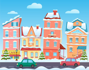 Winter cartoon city landscape. Vector Christmas background with funny houses. Snowy town at holiday eve.
