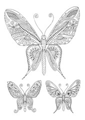 Three fantastic decorative butterflies. Hand drawn picture. Sketch for anti-stress adult coloring book in zen-tangle style. Vector illustration  for coloring page.