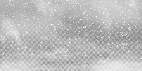 Falling Christmas Shining transparent beautiful, little snow isolated on transparent background. Snow flakes, snow background. heavy snowfall, snowflakes in different shapes and forms. Wall mural