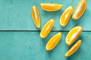 ripe organic orange sliced into slices