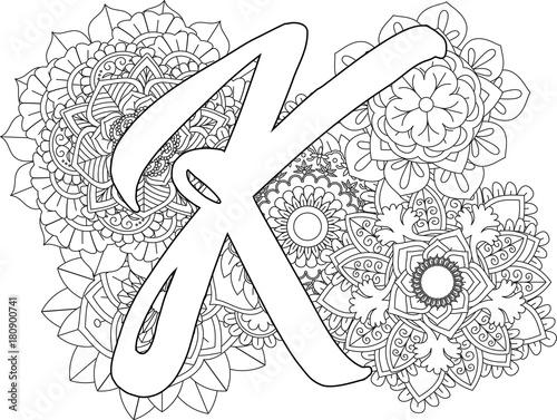 Mandala K Monogramlogo Doodle Floral Letters Coloring Book For Adult