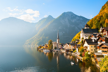 Beautiful and famous Hallstatt village in Austrian Alps in autumn Wall mural