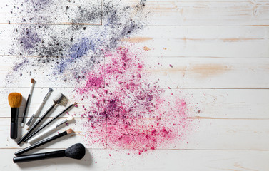 Wallpaper for professional makeup and fashion brushes and colorful pigments