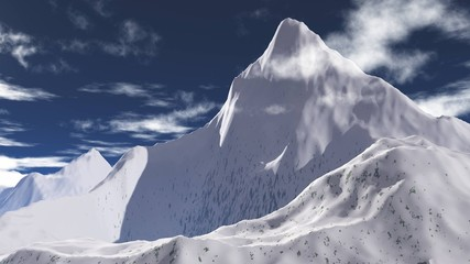 beautiful mountain landscape, snow-capped peaks, panorama of mountains, banner, 3d rendering