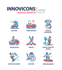 Winter sports - line design icons set