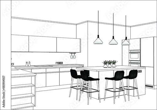 3d Vector Sketch Modern Kitchen Design In Home Interior Kitchen