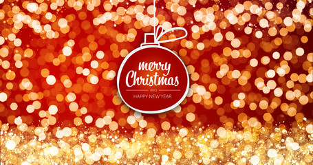 sparkling gold and silver xmas lights with Merry Christmas and Happy New Year greeting message ball ornament on red background,bright lights decoration.Elegant holiday season social post digital card
