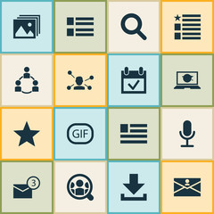 Media Icons Set. Includes Icons Such As Social Wall, Contact, Questionnaire And Other.