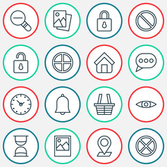 Internet Icons Set. Includes Icons Such As Estate, Pinpoint, Landscape Photo.