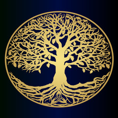 Sketch - the golden tree of life - a beautiful idea for a logo. Symbol of family and clan.