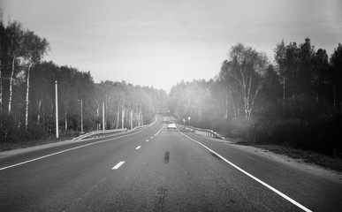 black and white photo of the fog forest road