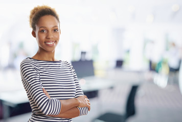 Young confident marketing assistant woman portrait