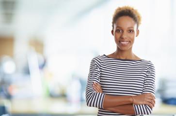 Young confident marketing assistant woman portrait