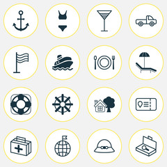 Travel Icons Set. Includes Icons Such As Steering Wheel, Travel Direction, Pin And Other.