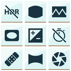 Image Icons Set. Includes Icons Such As Mode, Focus, Frame And Other.
