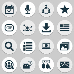 Media Icons Set. Includes Icons Such As Questionnaire, Video Chat, Gif Sticker And Other.
