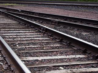 Close up shot of railroad tracks