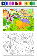 Cartoon Coloring for children dinosaurs in nature