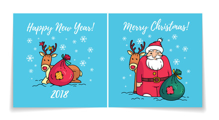Merry Christmas card with Santa Claus. Cover and back of holiday card. Happy New Year 2018 card. Santa, reindeer and gifts
