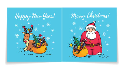 Merry Christmas card with Santa Claus. Cover and back of holiday card. Happy new year card. Santa, reindeer and gifts