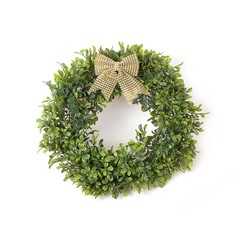 New year green wreath isolated on white background
