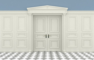 3D illustration. Background with classic wall with wooden panelling and double doors