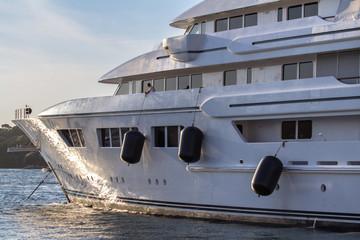 Luxury, white yacht moored in harbor
