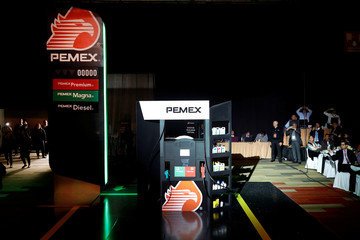 A new image for Pemex gas stations is presented during the launch of a new franchise and commercial strategy by Pemex, in Mexico City